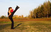 Beautiful kick boxing girl exercising high kick in the nature on sunny summer day. — Stock Photo