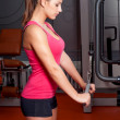 Beautiful young woman exercising arm muscles in the gym - Stock Photo