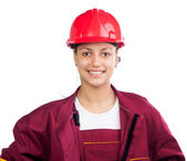 Happy female construction worker isolated on white — Stock Photo