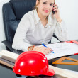 Young female architect working on the project in her office. — Stock Photo