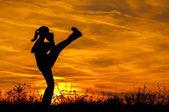 Silhueta de menina de belo chute boxe exercitando pontapé na natureza num dia de verão ensolarado. — Foto Stock