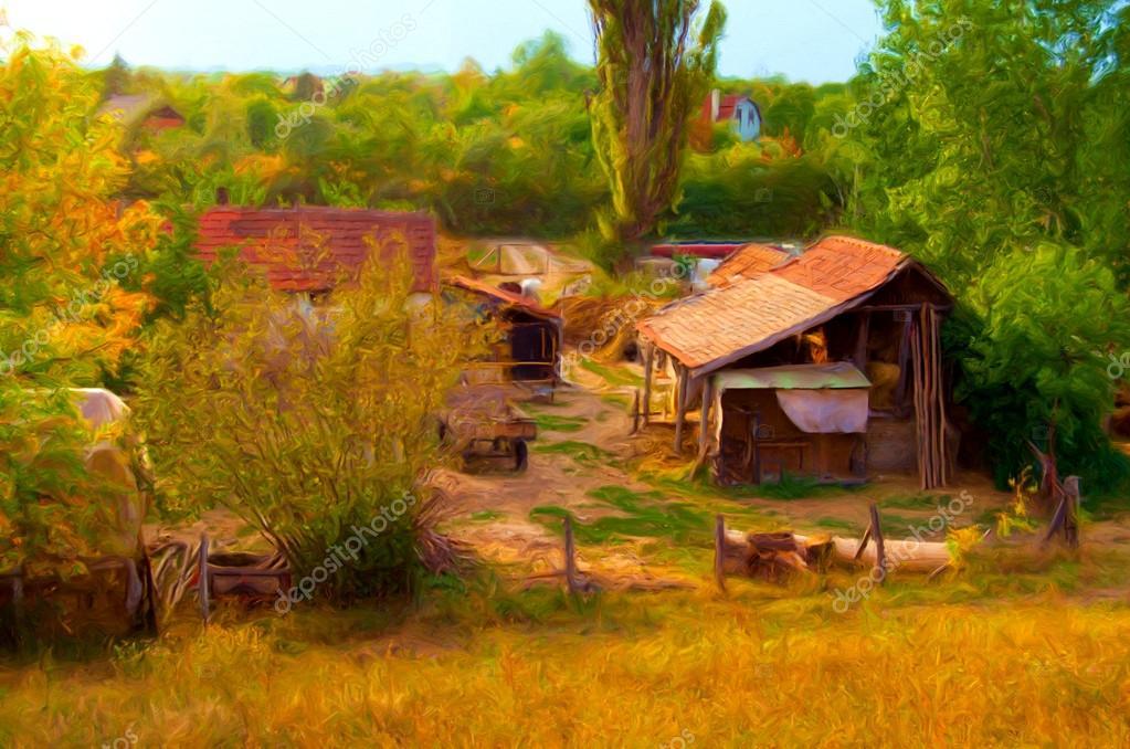 Ferme montrant peinture paysage journée ensoleillée d'automne — Photographie prudkov © #22695457
