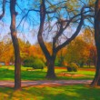 Landscape painting showing beautiful park on sunny spring day — Stock Photo