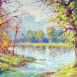 Landscape painting showing river flowing through the forest on beautiful spring day — Stock Photo