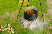 Cooking stew in the nature in the iron kettle — Stockfoto