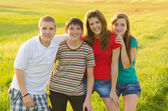 Four teenage friends posing on the meadow on sunny spring day — Stockfoto