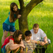 Teenagers having fun in the nature on sunny spring day — Stock Photo