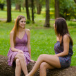 Two beautiful girls sitting in the park and talking on beautiful summer day — Stock Photo