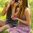 Two beautiful girls eating strawberries in the nature on sunny summer day — Stock Photo #26173521