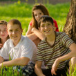 Four happy teenagers in the nature — Stock Photo