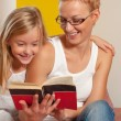 Reading book together — Stock Photo