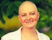 Bald woman - cancer survivor — Stock Photo