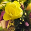 Yellow rose in bouquet — Stock Photo