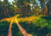 Landscape painting - road through the forest — Stock Photo