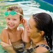 Stock Photo: Mother and son in swimming pool