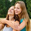 Two beautiful girls having fun outdoor  — Foto Stock