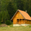 Small wooden house in the woods — Stock Photo