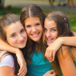 Happy teenage girls having fun outdoor — Stock Photo