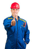 Handsome mechanic with hard hat and tools — Stock Photo