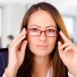 Beautiful business woman with glasses — Foto de Stock