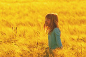 Smiling girl in the wheat field — Stock fotografie