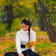 Beautiful girl in the autumn forest  — Foto de Stock