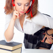 Sexy schoolgirl reading the book — Stock Photo
