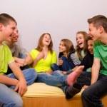 Teenagers having fun at home — Stock Photo