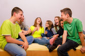 Teenagers having fun at home — Stock Photo