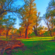 Landscape painting - autumn forest — Stockfoto #37861655