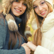 Two beautiful girls outdoor in winter — Stock Photo