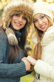 Two beautiful girls outdoor in winter — Foto Stock