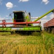 Combine harvester unloads wheat into the tractor — Stock Photo #38247751