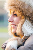 Portrait of the beautiful girl outdoor in winter — Stock Photo