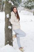 Beautiful girl in the winter forest — Stock Photo