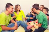 Teenagers having fun indoor — Stock Photo