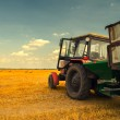 Modern red tractor on the agricultural field — Stock Photo #47713579