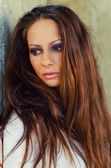 Portrait of the beautiful brunette with long hair  — Stockfoto