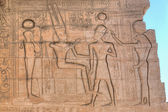 Ramesseum in Luxor: Pharaoh carved on the wall — Stock Photo
