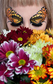 Beautiful butterfly makeup — Стоковое фото