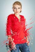 赤で女性 — ストック写真