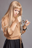 Woman with a bunch of keys — Stock Photo