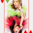 Queens of hearts — Stock Photo