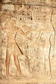 Ancient Egyptian hieroglyphic carving in Medinet Habu — Stock Photo