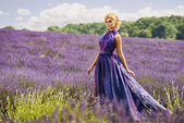 Beautiful woman in lavender fields — Stock Photo