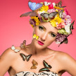 Beautiful womwith floral headpiece — Stock Photo #29733435