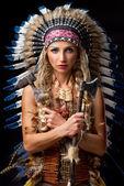 Beautiful woman in native american costume — Stock Photo