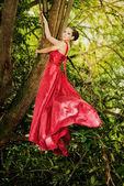 Mulher em um vestido longo — Fotografia Stock