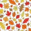 Fall Foliage Autumn Leaf Doodles Seamless Repeat Pattern Vector — Stock Vector