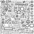 Sketchy Doodle Back to School Vector Design Elements — Stock Vector
